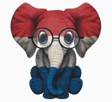 Baby Elephant with Glasses and Dutch Flag Kids Clothes