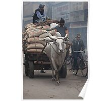 Ox cart hauling rice Poster