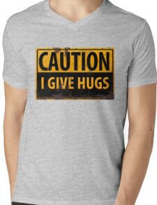 """Funny, """"CAUTION, I Give Hugs"""" Realistic Metal with Rust Sign Mens V-Neck T-Shirt"""