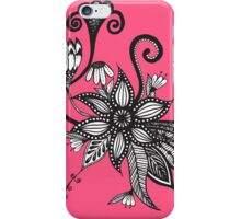 Bright Pink and Black & White Tangle Flowers iPhone Case/Skin