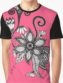 Bright Pink and Black & White Tangle Flowers Graphic T-Shirt