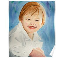 Watercolor Portrait of a Young Boy Poster