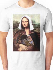 Mona Lisa Thanksgiving Pilgrim Unisex T-Shirt