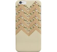 Pink Floral, Faux Gold, & Coffee Brown Chevron iPhone Case/Skin
