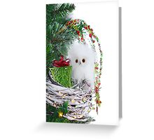Christmas Ornament Baby Owl Vintage Rustic  Greeting Card