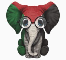 Baby Elephant with Glasses and Palestinian Flag One Piece - Long Sleeve