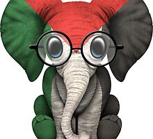 Baby Elephant with Glasses and Palestinian Flag by Jeff Bartels