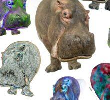 Crazy Hippo Multiplied Sticker