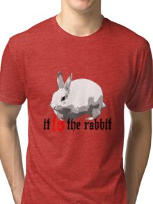 What, behind the rabbit? Tri-blend T-Shirt