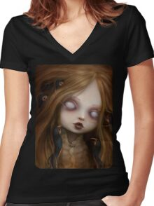 The face of all your fears Women's Fitted V-Neck T-Shirt