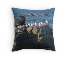 Seal hanging out with a flock of seagulls Throw Pillow