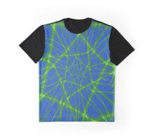 Neon Green Web on Blue Graphic T-Shirt