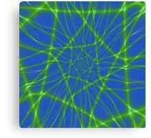 Neon Green Web on Blue Canvas Print