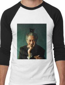 Morgan Freeman with a Cat on his Head Men's Baseball ¾ T-Shirt