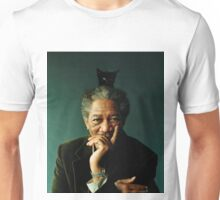 Morgan Freeman with a Cat on his Head Unisex T-Shirt