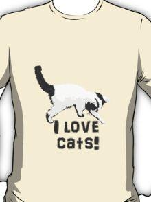 I love cats! (Black & White) T-Shirt