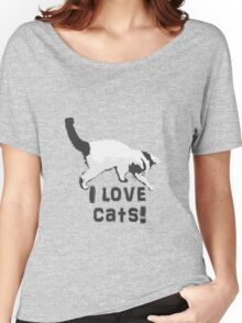 I love cats! (Black & White) Women's Relaxed Fit T-Shirt