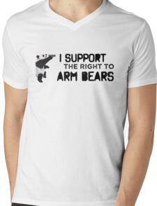 I Support the Right to Arm Bears, Panda Bears Mens V-Neck T-Shirt