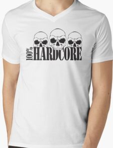 100% Hardcore Skulls Mens V-Neck T-Shirt