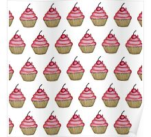 Cute Pink Cupcake with Cherry on Top Poster