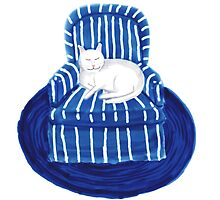 White Cat in a Striped Blue Chair by Sarah Countiss