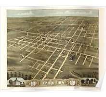 Panoramic Maps Bird's eye view of the city of Jackson Madison County Tennessee 1870 Poster