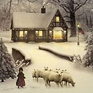 Girl Playing With Sheep by Maria Murphy