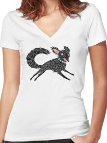 Running Dog Women's Fitted V-Neck T-Shirt