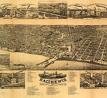 Panoramic Maps Racine Wis county seat of Racine Co 1883 by wetdryvac