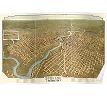 Panoramic Maps Spokane Washington Poster