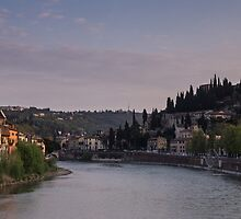Looking Along the Adige, Verona by Cliff Williams