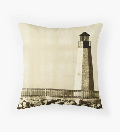 olden day light house Throw Pillow