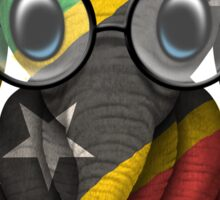 Baby Elephant with Glasses and Saint Kitts Flag Sticker