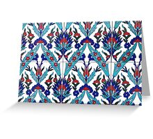 Turkish Iznik Floral Pattern Greeting Card