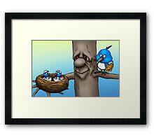 Mom and Baby Birds Framed Print