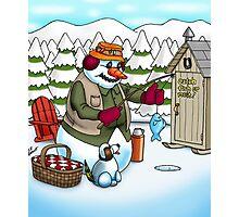 Ice Fishing Snowman Photographic Print