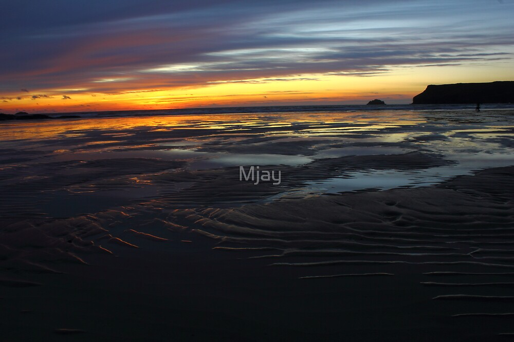 Sunset in Cornwall by Mjay