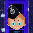Boy Bobby & Telephone Box iPhone case design by Dennis Melling