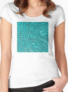 Light Blue Peacock Twilight Women's Fitted Scoop T-Shirt