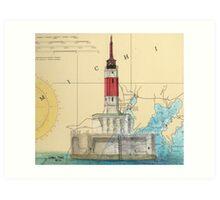 Minneapolis Shoal Lighthouse MI Nautical Chart Map Art Print