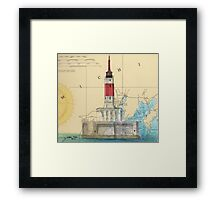 Minneapolis Shoal Lighthouse MI Nautical Chart Map Framed Print