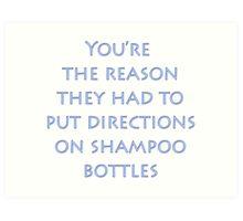 Directions on Shampoo Art Print