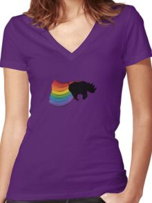 Rhino Rainbow Power! Women's Fitted V-Neck T-Shirt