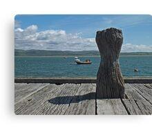 Bollard Boats and Blue Sky Canvas Print
