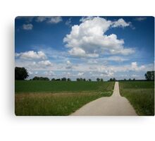 country lane with cumulus Canvas Print