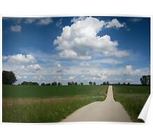 country lane with cumulus Poster