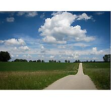 country lane with cumulus Photographic Print