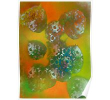 Leaves reflecting Flowers Poster