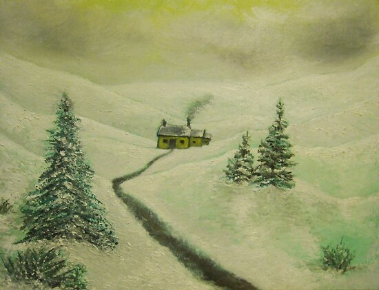Cottage in the snow, peace and quiet by Steve's Fun Designs