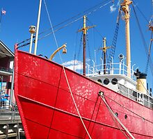 Red ship docked at New York by mechelle142
